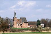 Nederland, Persingen, 5-3-2019Landelijk gebied rond dit dorpje, gehucht, in de Ooijpolder. Het karakteristieke kerkje.   De Ooijpolder is onderdeel van de wandelroute, pelgrimsroute, walk of wisdom door het rijk van Nijmegen.Foto: Flip Franssen