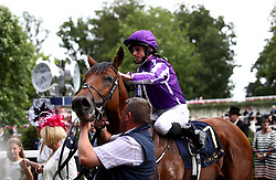 Jockey Ryan Moore on Merchant Navy after winning the Diamond Jubilee Stakes during day five of Royal Ascot at Ascot Racecourse.