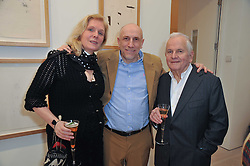 Left to right, SOPHIE DE STEMPEL, BRIAN CLARKE and IAN HOLM at a private view of work by Brian Clarke - Works on Paper 1969-2011 held in the Phillips de Pury Galleries, The Saatchi Gallery, London on 28th February 2011.