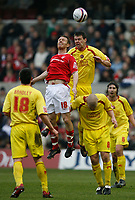 Photo: Steve Bond/Richard Lane Photography. <br /> Nottingham Forest v Walsall. Coca Cola League One. 15/03/2008. Brett Ormerod (C,L) is beaten in the air by Anthony Gerrard (C,R)