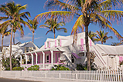 Old clapboard cottage and picket fence in Dunmore Town, Harbour Island, The Bahamas