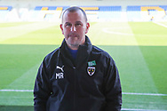AFC Wimbledon manager Mark Robinson wearing level playing field badge prior to kick off during the EFL Sky Bet League 1 match between AFC Wimbledon and Hull City at Plough Lane, London, United Kingdom on 27 February 2021.