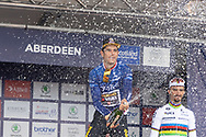 Wout van Aert of Team Jumbo-Visma wins Stage 8 and the AJ Bell Tour of Britain 2021 between Stonehaven to Aberdeen, , Scotland on 12 September 2021.