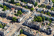 Nederland, Noord-Holland, Amsterdam, 29-06-2018; Vondelbuurt, Helmersbuurt. Kruising Overtoom met Eerste Constantijn Huygentraat.<br /> <br /> luchtfoto (toeslag op standard tarieven);<br /> aerial photo (additional fee required);<br /> copyright foto/photo Siebe Swart