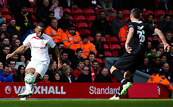 Dider Drogba crosses the ball - Photo mandatory by-line: Matt McNulty/JMP - Mobile: 07966 386802 - 29/03/2015 - SPORT - Football - Liverpool - Anfield Stadium - Gerrard's Squad v Carragher's Squad - Liverpool FC All stars Game