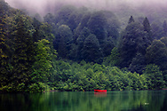 Red boat in a small misty lake in the forest