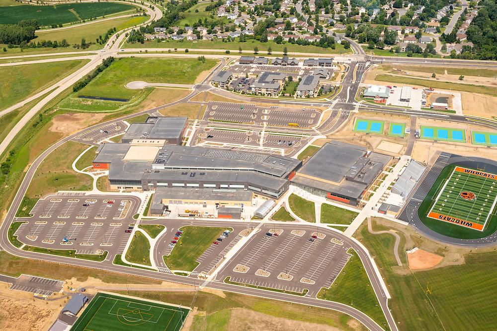Aerial photograph of the new Verona Area High School, Verona, Wisconsin, USA.