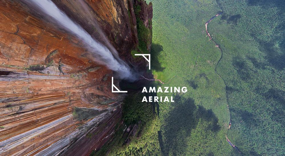 Aerial view above of Angel Falls, Venezuela