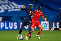 NICE, FRANCE - Wednesday, June 2, 2021: France's Paul Pogba (L) and Wales' Neco Williams during an international friendly match between France and Wales at the Stade Allianz Riviera ahead of the UEFA Euro 2020 tournament. (Pic by Simone Arveda/Propaganda)