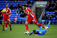 Scunthorpe Utd forward Kyle Wootton (29) gets away from his marker during the EFL Sky Bet League 1 match between Peterborough United and Scunthorpe United at London Road, Peterborough, England on 1 January 2019.