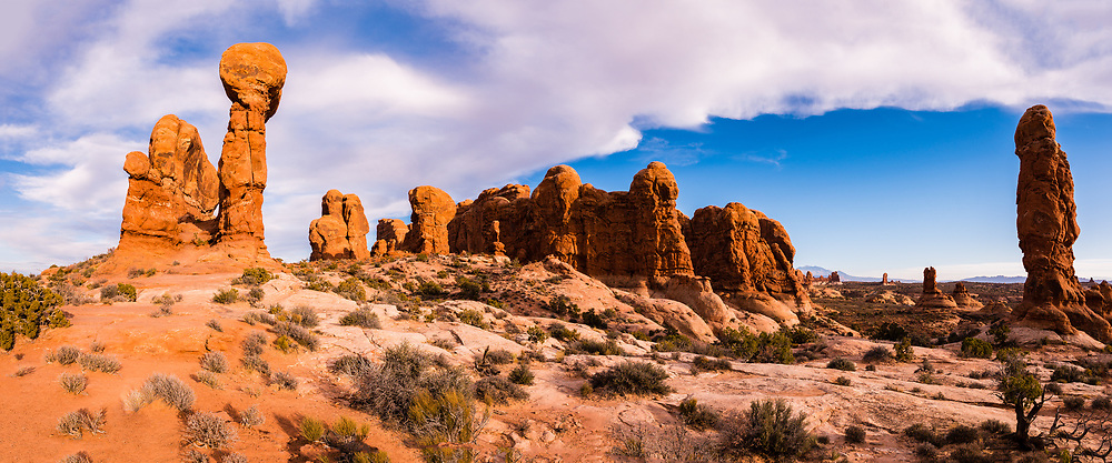 Panoramic view of the Garden of Eden, Arches National Park, Utah, USA