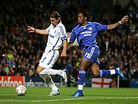 Photo: Tom Dulat.<br /> Chelsea v Shalke 04. Group B, UEFA Champions League. 24/10/2007.<br /> Marcelo Bordon of Shalke 04 and Didier Drogba of Chelsea with the ball.