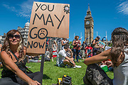 You May Go Now - A day after the election result protestors gather to ask for Theresa May to quit and not do a deal with the DUP. Who people fear because of their views on abrtion, gay marriage etc. Westminster, London, 10 Jun 2017