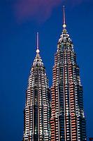 Petronas Twin Towers at dusk.