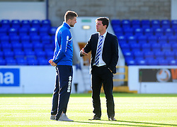 Bristol Rovers Manager, Darrell Clarke with Bristol Rovers' Ryan Brunt - Photo mandatory by-line: Neil Brookman/JMP - Mobile: 07966 386802 - 22/11/2014 - Sport - Football - Chester - Deva Stadium - Chester v Bristol Rovers - Vanarama Football Conference
