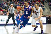 FORT WORTH, TX - FEBRUARY 6: Frank Mason III #0 of the Kansas Jayhawks drives to the basket against the TCU Horned Frogs on February 6, 2016 at the Ed and Rae Schollmaier Arena in Fort Worth, Texas.  (Photo by Cooper Neill/Getty Images) *** Local Caption *** Frank Mason III