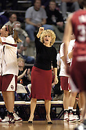 Oklahoma head coach Sherri Coale (C) sends in a play after a Sooner score against Kansas State, during the first half at Bramlage Coliseum in Manhattan, Kansas, February 21, 2006.  The 9th ranked Sooners defeated K-State 78-64.