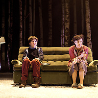Picture Shows :<br /> Martin Quinn as Oskar and Lorraine M McIntosh as Oskar's mum.<br /> <br /> Picture © Drew Farrell. Tel : 07721-735041<br /> Images offered on a speculative basis. Payment at all times.<br /> <br /> The full cast is: Rebecca Benson, Paul Thomas Hickey, Lorraine M McIntosh, Angus Miller, Cristian Ortega, Martin Quinn, Chris Reilly, Stuart Ryan, Ewan Stewart.<br /> Director John Tiffany and Steven Hoggett as Associate Director.<br /> <br /> UK premiere of Let The Right One In, presented by the National Theatre of Scotland, by arrangement with Marla Rubin Productions Ltd and Bill Kenwright, in association with Dundee Rep Theatre.<br /> Performances Dundee Rep Theatre  05/06/2013 - 29/06/2013 <br />  <br /> Tony and Olivier Award-winning director John Tiffany heads up a world-class creative team to bring the cult Swedish romantic horror film Let the Right One In to the Scottish stage. The cast features Deacon Blue and McIntoshRoss musician, Lorraine McIntosh and Dundonian actor Angus Miller, who will be making his professional theatrical debut in his home-town. <br />  <br /> John Tiffany will be working with Steven Hoggett as Associate Director. The two previously worked together on Black Watch (currently on tour in San Francisco) and The Bacchae for the National Theatre of Scotland and most recently on Once (winner of eight Tony awards and currently playing on Broadway and the West End).  <br />  <br /> The production will feature John and Steven's trademark high physicality and lyricism in the telling of this horror story and music by Icelandic composer Ólafur Arnalds, who recently created the score for the successful ITV detective series Broadchurch.<br />  <br /> The adaption of John Ajvide Lindqvist's novel and film is by Jack Thorne, one of the original creators and writers of hit Channel 4 show Skins, who in May last year, uniquely won writing BAFTAs for both The Fades and This Is England '88.<br />  <br /> John Ajvide Lindqvist's original 2004 novel Let the Right One In and Tomas Alfredson's (Director of Tinker, Tailor, Soldier,Spy)  subsequent 2008 film of