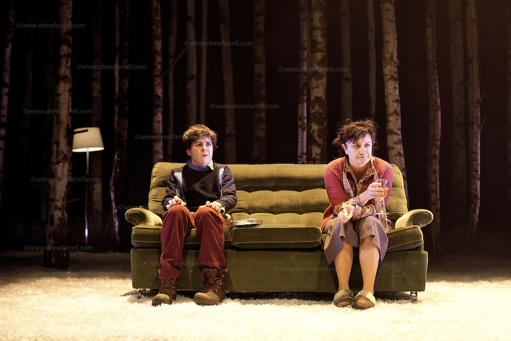 Picture Shows :<br /> Martin Quinn as Oskar and Lorraine M McIntosh as Oskar's mum.<br /> <br /> Picture © Drew Farrell. Tel : 07721-735041<br /> Images offered on a speculative basis. Payment at all times.<br /> <br /> The full cast is: Rebecca Benson, Paul Thomas Hickey, Lorraine M McIntosh, Angus Miller, Cristian Ortega, Martin Quinn, Chris Reilly, Stuart Ryan, Ewan Stewart.<br /> Director John Tiffany and Steven Hoggett as Associate Director.<br /> <br /> UK premiere of Let The Right One In, presented by the National Theatre of Scotland, by arrangement with Marla Rubin Productions Ltd and Bill Kenwright, in association with Dundee Rep Theatre.<br /> Performances Dundee Rep Theatre  05/06/2013-29/06/2013 <br /> <br /> Tony and Olivier Award-winning director John Tiffany heads up a world-class creative team to bring the cult Swedish romantic horror film Let the Right One In to the Scottish stage. The cast features Deacon Blue and McIntoshRoss musician, Lorraine McIntosh and Dundonian actor Angus Miller, who will be making his professional theatrical debut in his home-town.<br /> <br /> John Tiffany will be working with Steven Hoggett as Associate Director. The two previously worked together on Black Watch (currently on tour in San Francisco) and The Bacchae for the National Theatre of Scotland and most recently on Once (winner of eight Tony awards and currently playing on Broadway and the West End).<br /> <br /> The production will feature John and Steven's trademark high physicality and lyricism in the telling of this horror story and music by Icelandic composer Ólafur Arnalds, who recently created the score for the successful ITV detective series Broadchurch.<br /> <br /> The adaption of John Ajvide Lindqvist's novel and film is by Jack Thorne, one of the original creators and writers of hit Channel 4 show Skins, who in May last year, uniquely won writing BAFTAs for both The Fades and This Is England '88.<br /> <br /> John Ajvide Lindqvist's original 2004 novel 
