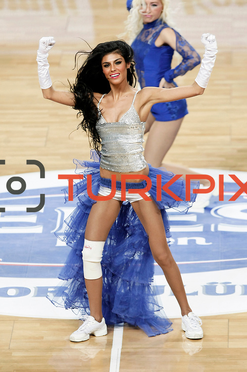 Efes Pilsen's Show girls during their Turkish Basketball league match Efes Pilsen between Mersin BSB at the Sinan Erdem Arena in Istanbul Turkey on Saturday 19 March 2011. Photo by TURKPIX
