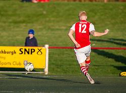 Broxburn Athletic's Conor Kelly scoring their third goal. Broxburn Athletic FC 3 v 0 Cowdenbeath, William Hill Scottish Cup 2nd Round replay played 26/10/2019 at Albyn Park, Greendykes Road, Broxburn.