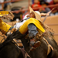 061313  Adron Gardner/Independent<br /> <br /> Kyle charley, of Lukachukai, scores an 83.5 in Bronco riding during the Gallup Lions Club Rodeo at Red Rock Park Saturday.