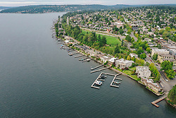 United States, Washington, Kirkland and Lake Washington (aerial view)