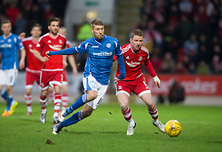 St Johnstone's David Wotherspoon and Aberdeen's Johnny Hayes. <br /> St Johnstone 3 v 4Aberdeen, SPFL Ladbrokes Premiership played 6/2/2016 at McDiarmid Park, Perth.