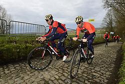 March 30, 2018 - Oudenaarde, Belgique - Oudenaarde, Belgium - March 30 : NIBALI Antonio (ITA), HAUSSLER Heinrich (AUS) of Bahrain - Merida during a training session prior to the Flanders Classics UCI WorldTour 102nd Ronde van Vlaanderen cycling race with start in Antwerpen and finish in Oudenaarde on March 30, 2018 in Oudenaarde, Belgium 30/03/2018 (Credit Image: © Panoramic via ZUMA Press)