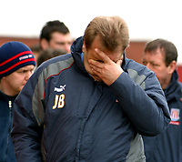 Photo: Dave Linney.<br />Stoke City v Birmingham City. The FA Cup. 19/02/2006.<br />Stoke Mgr Johan Boskamp reaction after the defeat by Bham City