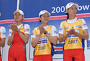 Amsterdam, HOLLAND, CHN2 LW2X Gold Medallist, bow Haixia CHEN and Hua YU, left, Silver medallist CHN, Dongxiang XU and Shimin YAN bronze medallalist USA LW2X wendy TRIPICAN and Jana HEERE final and medals,  at the 2007 FISA World Cup Second Round, Finals day,  at the Bosbaan Regatta Rowing Course. 24.06.2007[Mandatory Credit: Peter Spurrier/Intersport-images]...... , Rowing Course: Bosbaan Rowing Course, Amsterdam, NETHERLANDS
