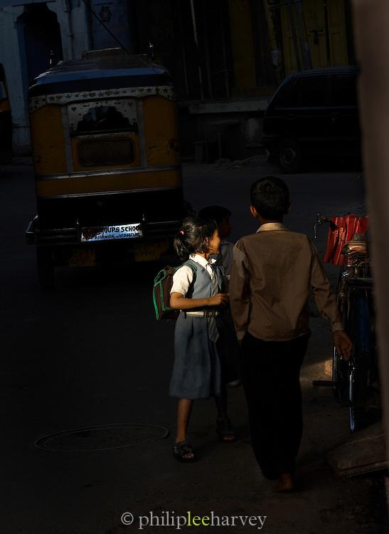 School Children in the street, Jodhpur, Rajasthan, India
