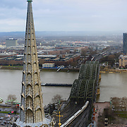 Cologne panorama and Hohenzollern bridge, Germany