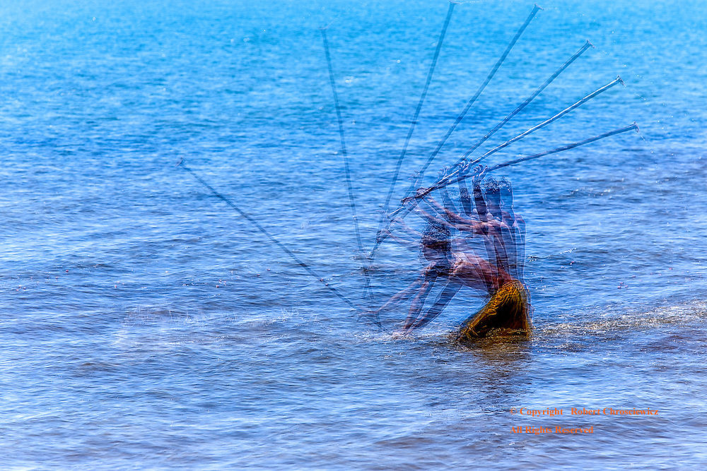 Kep In Motion: 8 photographs are used to capture the drama of a young man fishing in the bright blue just off Kep Cambodia.