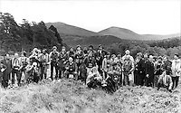 British press photographers on the banks of the River Dee, Balmoral, Scotland in September 1981. They are waiting for a photocall with the newly married Prince and Princess of Wales.