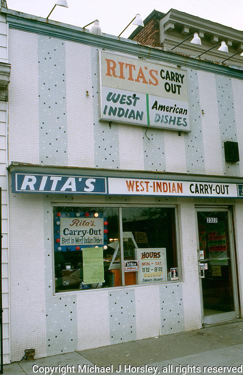 Georgia Avenue NW Washington DC, 1988<br /> West Indian Restaurant