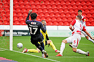 Luton Town midfielder Pelly-Rudduck Mpanzu (17) misses a tight chance during the EFL Sky Bet League 1 match between Doncaster Rovers and Luton Town at the Keepmoat Stadium, Doncaster, England on 8 September 2018.