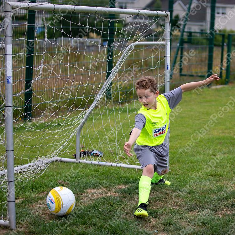 Aidan Kearney from Sixmilebridge in goals at the FAI Summer Soccer Camp at Sixmilebridge FC
