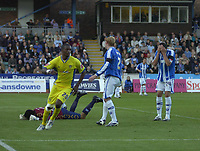 Photo: Matt Bright.<br /> Brighton and Hove Albion v Leeds United. Coca Cola League 1. 20/10/2007.<br /> Trensor Kandol taps in a terrible back pass to score for Leeds Utd