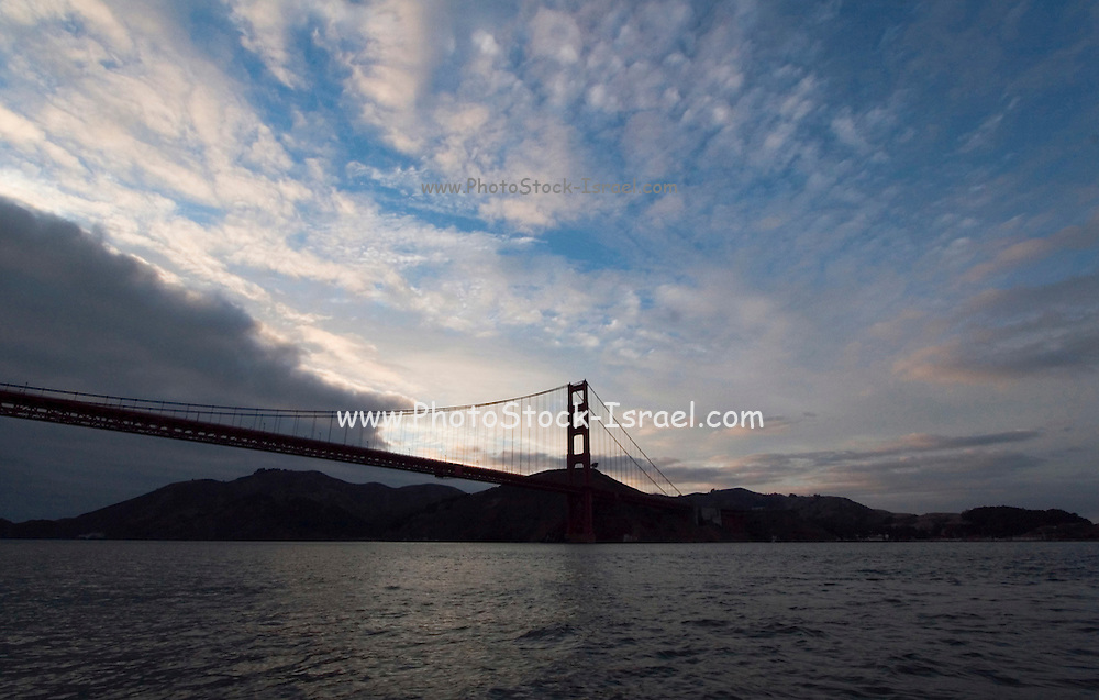 San Francisco California USA, Golden Gate Bridge as seen from below from the SF bay on-board a tour boat October 2006