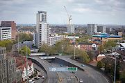 A view of Coventry City Centre looking along the A4053 ring road in central Coventry on the 28th of April 2021, Coventry, United Kingdom. Coventry has been nominated the UK City of Culture for 2021