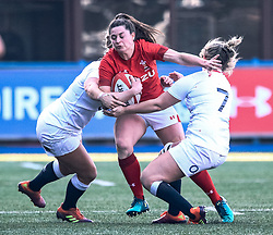 Jasmine Joyce of Wales is tackled by Marlie Packer of England<br /> <br /> Photographer Simon King/Replay Images<br /> <br /> Six Nations Round 3 - Wales Women v England Women - Sunday 24th February 2019 - Cardiff Arms Park - Cardiff<br /> <br /> World Copyright © Replay Images . All rights reserved. info@replayimages.co.uk - http://replayimages.co.uk