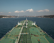 The mouth of the Bosphorus. Going up the Bosphorus on an oil tanker (Suez Max, 269 meters long) owned by a Turkish company. In Istanbul, Turkey.