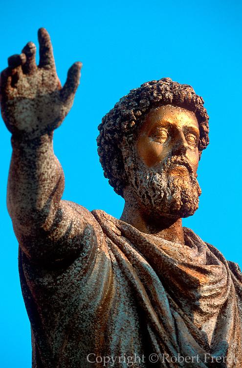 ITALY, ROME Piazza del Campidoglio on Capitoline Hill,  designed by Michelangelo with equestrian  statue of Emperor Marcus Aurelius