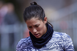 April 21, 2018 - La Manga, Murcia, Spain - Garbine Muguruza of Spain looks on during training during day one of the Fedcup World Group II Play-offs match between Spain and Paraguay at Centro de Tenis La Manga Club on April 21, 2018 in La Manga, Spain  (Credit Image: © David Aliaga/NurPhoto via ZUMA Press)
