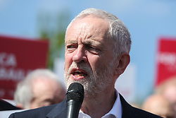May 9, 2017 - Salford, Greater Manchester, UK - Salford, UK. Labour Leader Jeremy Corbyn speaks to supporters and the media at a rally in Salford after the launch of the party's general election campaign this morning. (Credit Image: © Ian Hinchliffe/London News Pictures via ZUMA Wire)