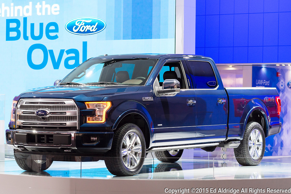 DETROIT, MI, USA - JANUARY 13, 2015: Ford F150 pickup on display during the 2015 Detroit International Auto Show at the COBO Center in downtown Detroit.