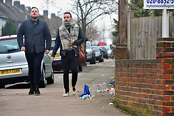 © Licensed to London News Pictures.13/04/2018<br /> HITHER GREEN, UK.<br /> Flowers from the Henry Vincent shrine remain destroyed on the pavement this morning at 9.30am.<br />  Hither Green Burglary Murder. South Park Crescent,Hither Green.<br />  Home of 78 year old Richard Osborn-Brooks who stabbed a burglar to death in his home.<br /> Photo credit: Grant Falvey/LNP