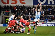 Sale Sharks second-row Bryn Evans attempts to charge down a kick from  Saracens scrum-half Tom Whiteley during a Premiership Rugby Cup Semi Final won by Sale 28-7, Friday, Feb. 7, 2020, in Eccles, United Kingdom. (Steve Flynn/Image of Sport)