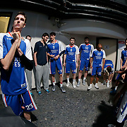 Anadolu Efes's players during their Turkish Airlines Euroleague Basketball PlayOffs Round 4 match Anadolu Efes between Real Madrid at Abdi ipekci arena in Istanbul, Turkey, Thursday April 23, 2015. Photo by Aykut AKICI/TURKPIX